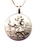 XL St Christopher medaljong i Sterling sølv. thumbnail