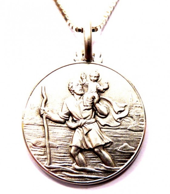 XL St Christopher medaljong i Sterling sølv.